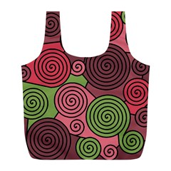 Red And Green Hypnoses Full Print Recycle Bags (l)  by Valentinaart