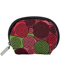Red And Green Hypnoses Accessory Pouches (small)  by Valentinaart