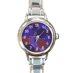 Blue And Red Hypnoses  Round Italian Charm Watch by Valentinaart