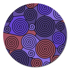 Blue And Red Hypnoses  Magnet 5  (round) by Valentinaart