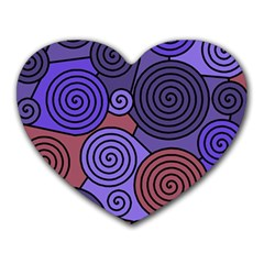 Blue And Red Hypnoses  Heart Mousepads by Valentinaart