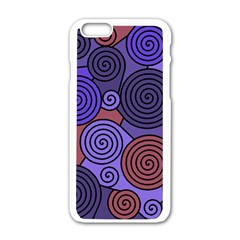 Blue And Red Hypnoses  Apple Iphone 6/6s White Enamel Case by Valentinaart