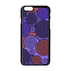 Blue And Red Hypnoses  Apple Iphone 6/6s Black Enamel Case by Valentinaart
