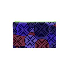 Blue And Red Hypnoses  Cosmetic Bag (xs) by Valentinaart
