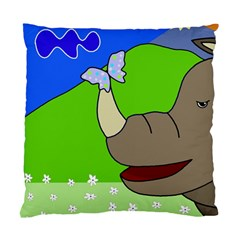 Butterfly And Rhino Standard Cushion Case (one Side) by Valentinaart