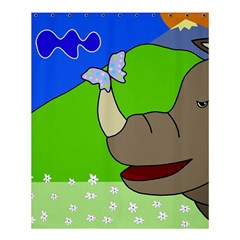 Butterfly And Rhino Shower Curtain 60  X 72  (medium)  by Valentinaart