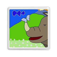 Butterfly And Rhino Memory Card Reader (square)  by Valentinaart