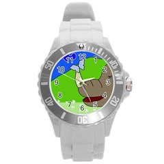 Butterfly And Rhino Round Plastic Sport Watch (l)
