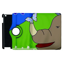 Butterfly And Rhino Apple Ipad 3/4 Flip 360 Case by Valentinaart
