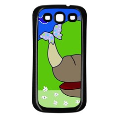 Butterfly And Rhino Samsung Galaxy S3 Back Case (black) by Valentinaart