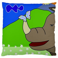 Butterfly And Rhino Large Flano Cushion Case (one Side) by Valentinaart