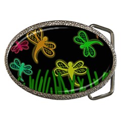 Neon Dragonflies Belt Buckles by Valentinaart