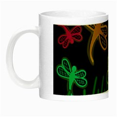 Neon Dragonflies Night Luminous Mugs by Valentinaart