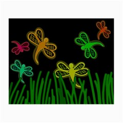 Neon Dragonflies Small Glasses Cloth by Valentinaart