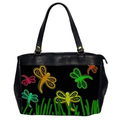 Neon Dragonflies Office Handbags (2 Sides)  by Valentinaart