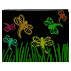 Neon Dragonflies Cosmetic Bag (xxxl)  by Valentinaart