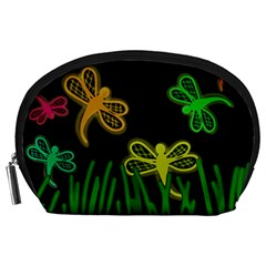 Neon Dragonflies Accessory Pouches (large)  by Valentinaart