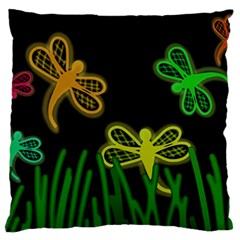 Neon Dragonflies Standard Flano Cushion Case (one Side) by Valentinaart