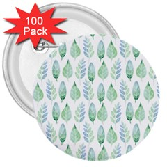 Green Watercolour Leaves Pattern 3  Buttons (100 Pack)  by TanyaDraws