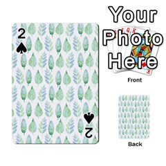 Green Watercolour Leaves Pattern Playing Cards 54 Designs  by TanyaDraws