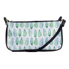 Green Watercolour Leaves Pattern Shoulder Clutch Bags by TanyaDraws