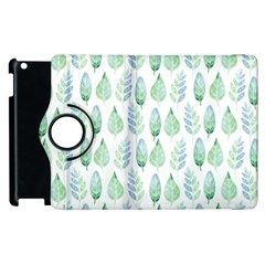 Green Watercolour Leaves Pattern Apple Ipad 3/4 Flip 360 Case by TanyaDraws