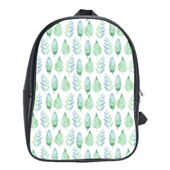 Green Watercolour Leaves Pattern School Bags (xl)