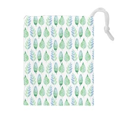 Green Watercolour Leaves Pattern Drawstring Pouches (extra Large) by TanyaDraws