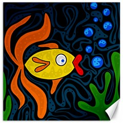 Yellow Fish Canvas 12  X 12   by Valentinaart