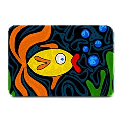 Yellow Fish Plate Mats by Valentinaart