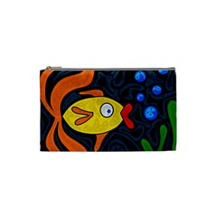 Yellow Fish Cosmetic Bag (small)  by Valentinaart