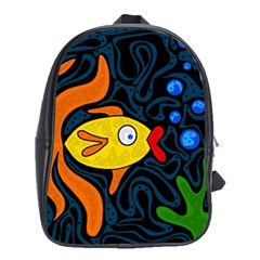 Yellow Fish School Bags(large)  by Valentinaart