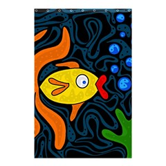Yellow Fish Shower Curtain 48  X 72  (small)  by Valentinaart