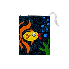Yellow Fish Drawstring Pouches (small)  by Valentinaart