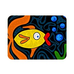 Yellow Fish Double Sided Flano Blanket (mini)  by Valentinaart