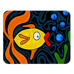 Yellow Fish Double Sided Flano Blanket (large)  by Valentinaart