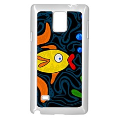 Yellow Fish Samsung Galaxy Note 4 Case (white) by Valentinaart