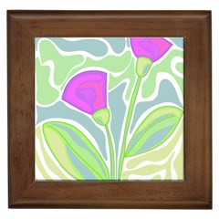 Purple Flowers Framed Tiles by Valentinaart