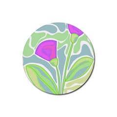 Purple Flowers Rubber Round Coaster (4 Pack)  by Valentinaart