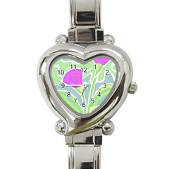Purple Flowers Heart Italian Charm Watch by Valentinaart