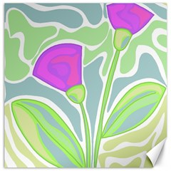 Purple Flowers Canvas 12  X 12   by Valentinaart