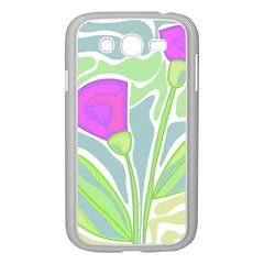 Purple Flowers Samsung Galaxy Grand Duos I9082 Case (white) by Valentinaart