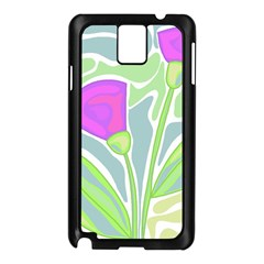 Purple Flowers Samsung Galaxy Note 3 N9005 Case (black) by Valentinaart