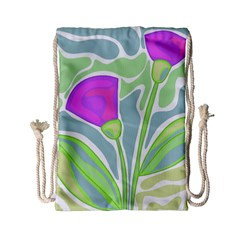 Purple Flowers Drawstring Bag (small) by Valentinaart