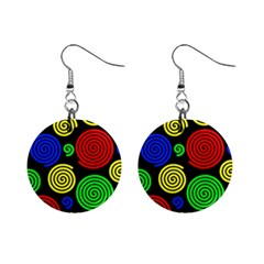 Colorful Hypnoses Mini Button Earrings by Valentinaart