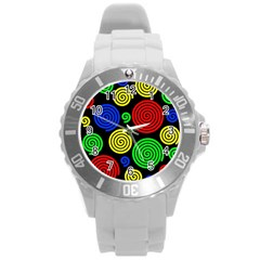 Colorful Hypnoses Round Plastic Sport Watch (l) by Valentinaart