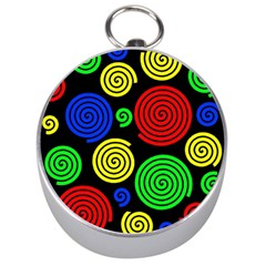 Colorful Hypnoses Silver Compasses