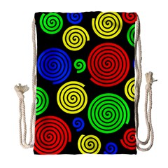 Colorful Hypnoses Drawstring Bag (large) by Valentinaart