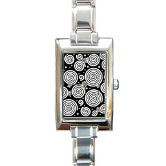 Black And White Hypnoses Rectangle Italian Charm Watch by Valentinaart