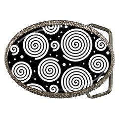 Black And White Hypnoses Belt Buckles by Valentinaart